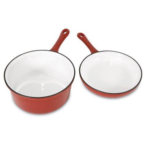heuck  porcelain enamel cast iron  quart sauce pan   skillet combo  loacker