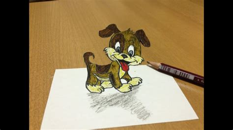 cartoon cute dog  drawing anamorphic illusion youtube