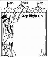 Coloring Clip Printable Circus Carnival Clipart Clown Theme Booth Border Adults Borders Ticket College Games Drawing Crafts Mother Class Cards sketch template