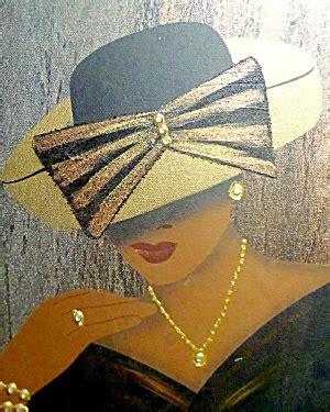 vintage african american chic woman painting rhinestones