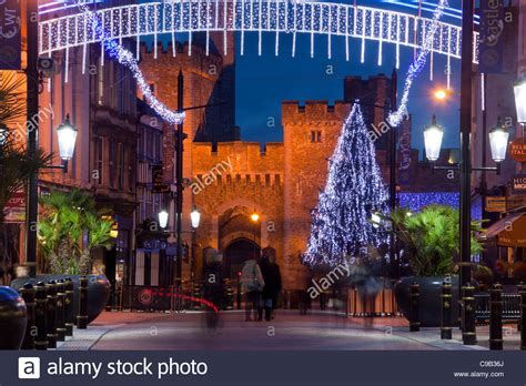 cardiff castle gatehouse with christmas tree and lights at