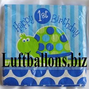 2 Geburtstag Junge Deko : partydekoration zum 1 geburtstag servietten schildkr te 1st birthday 16 st ck lu kinder ~ Frokenaadalensverden.com Haus und Dekorationen