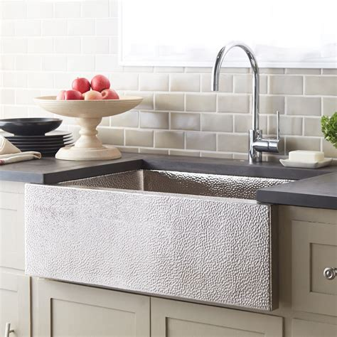 hammered nickel farmhouse sink brushed nickel apron kitchen sink native trails