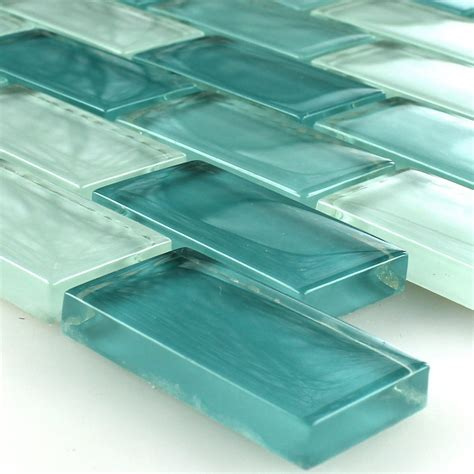 brick glass tiles clear glass crystal mosaic tiles green mix ebay