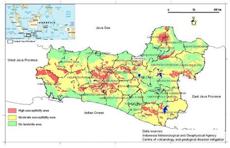 landslide susceptibility map   central java province