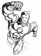 Coloring Superhero Flying Marvel sketch template