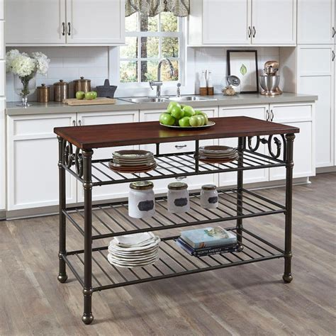 black kitchen island table home styles richmond hill black kitchen utility table with wood top 5063 94 the home depot