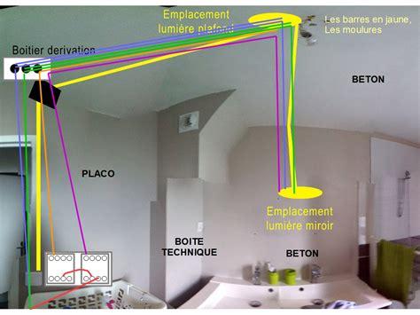 cablage salle de bain deuxieme lumiere et interrupteur