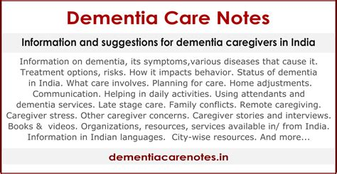 Dementia Care Notes India Information Resources