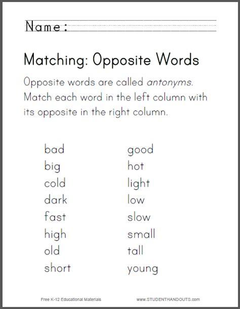 free printable opposites worksheets for grade 1 matching opposite words worksheet free to print pdf