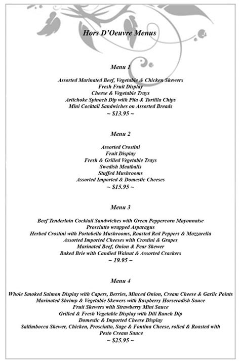 wedding menus buffet