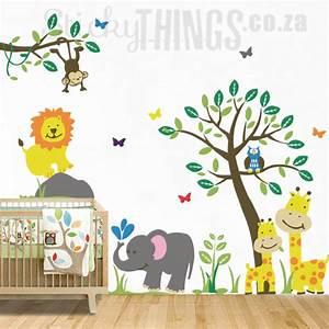 Safari jungle nursery wall sticker stickythingscoza for Nice safari wall decals for nursery