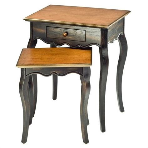 safavieh nesting tables safavieh jasper nesting table with drawer in cherry and