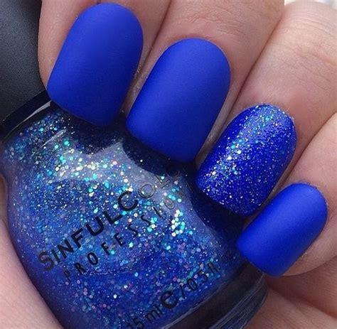 matte royal blue nails   glitter pop follow