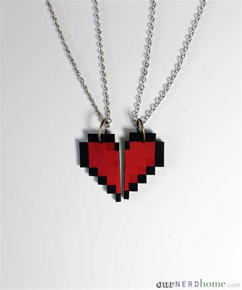 Diy Geek Valentine's Day Idea  8bit Heart Necklace Set