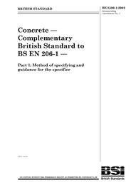 Concrete - Complementary British Standard to BS EN 206-1
