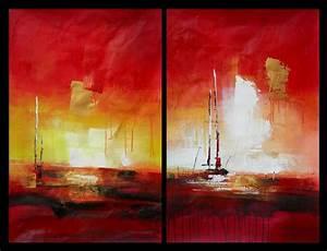 Tableau Peinture Sur Toile : tableau peinture diptyque abstrait vertical rouge jaune ~ Teatrodelosmanantiales.com Idées de Décoration