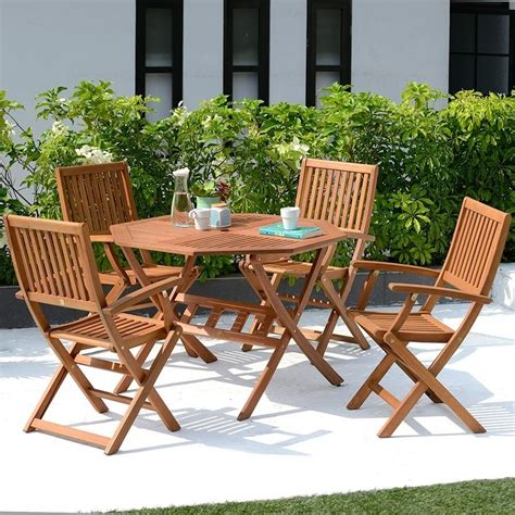 outdoor table and chairs set 4 seater garden furniture set wooden outdoor folding patio