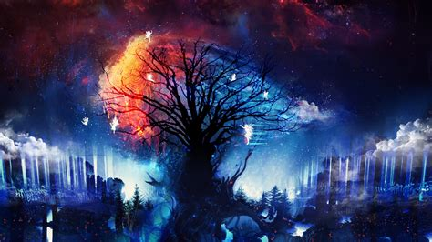 artwork digital art fantasy art trees fairies stars