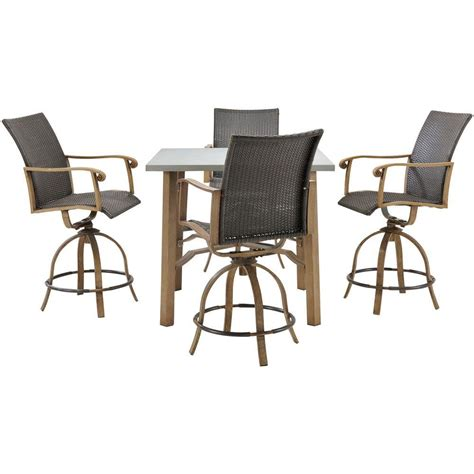 Bar Set by Hanover Hermosa 5 All Weather Wicker Square Patio
