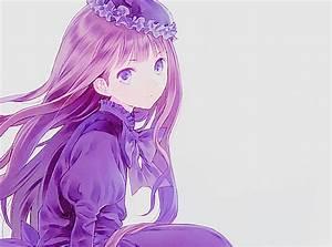 purple hair purple eyes brown hair hat purple dress anime ...