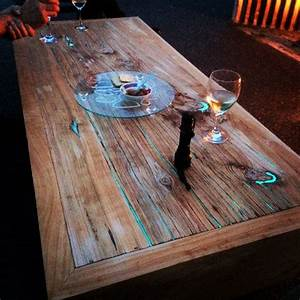macrocarpa timber slab coffee table with glow in the dark