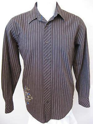 mens long sleeve casual shirt  brown stripe modern fit