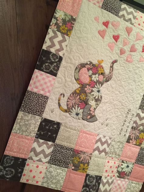 quilt baby quilts elephant patterns pattern applique boy children quilting walker pink fabric elephants printable babies easy boys quilted sewing