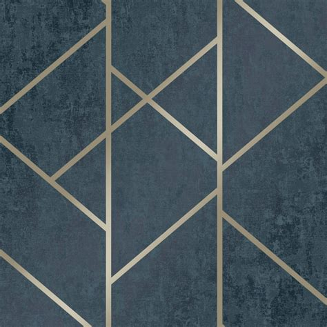 love wallpaper milan geo metallic wallpaper navy gold