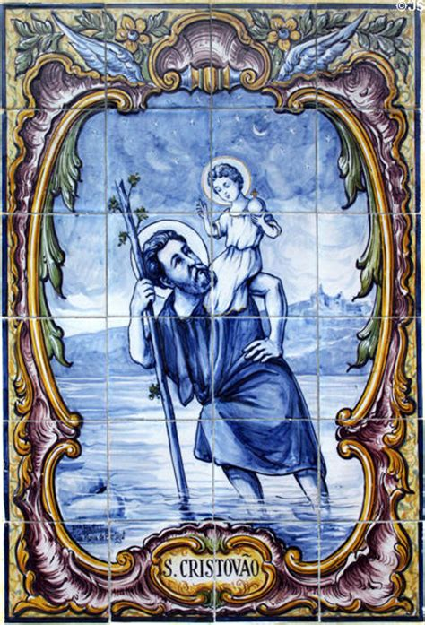 portuguese tile mural of st christopher at san carlos
