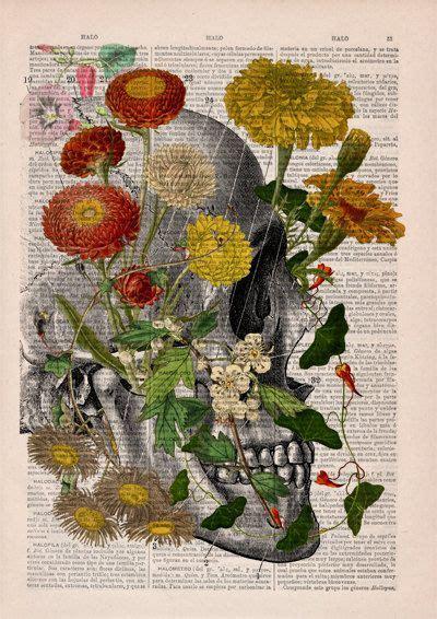 Decorative Art Flowers Skull Nature Inspired Print