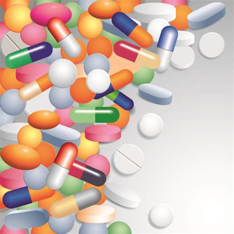 Medical Tablets With Capsules Background Vector 02 Free