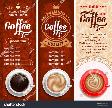 set three coffee design templates vector stock vector