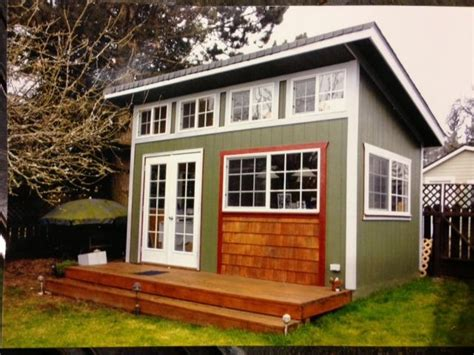 slant roof custom built garden shed mother  law home playhouse small house addict