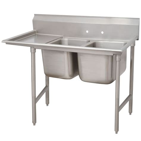 stainless kitchen sink left drainboard advance tabco 93 42 48 24 regaline two 6938
