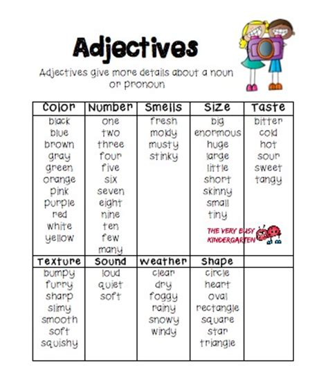 adjectives worksheets busy the busy kindergarten teaching adjectives in grade