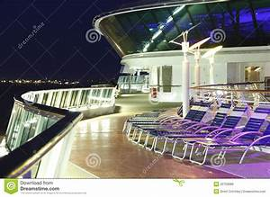 Cruise ship deck at night stock image. Image of track ...