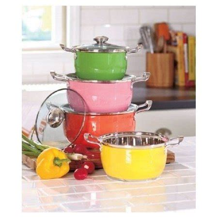 pots colorful clear cookware glass kitchen vented stainless steel lid carrying handle pc walmart knl