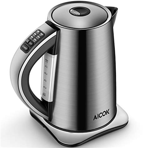 electric kettle water tea temperature aicok variable stainless kettles steel cordless amazon 1500w coffee french press sensitive thermometers leaf