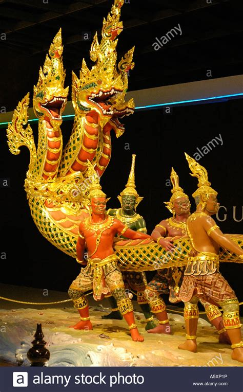 Glittering Thai Traditional Sculptures On Display In Bangkok's New Stock Photo, Royalty Free