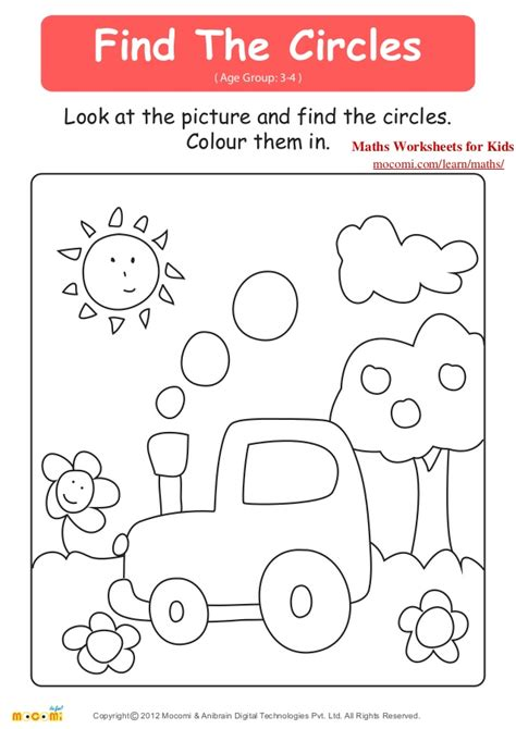 find the circles maths worksheets for kids mocomi com