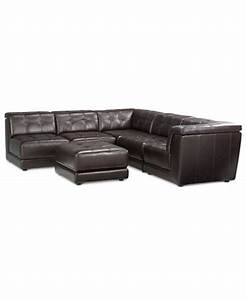 Stacey leather 6 piece modular sectional sofa 3 armless for Stacey leather 6 piece modular sectional sofa