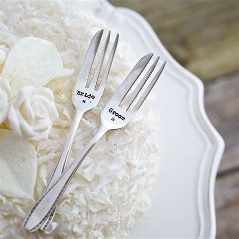 personalised vintage wedding cake fork set