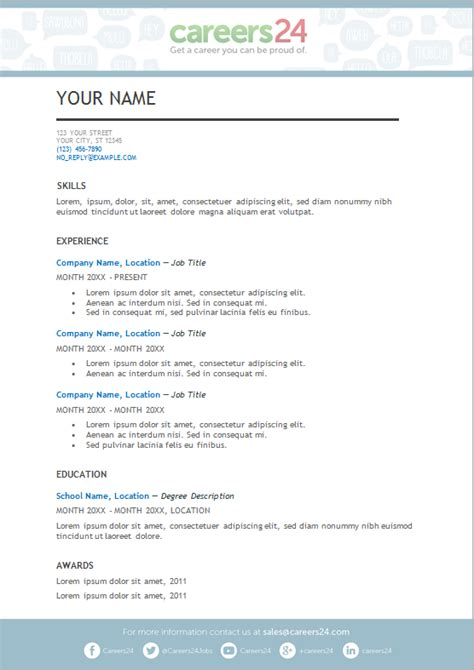 south cv template 4 free downloadable cv templates for south seekers careers24