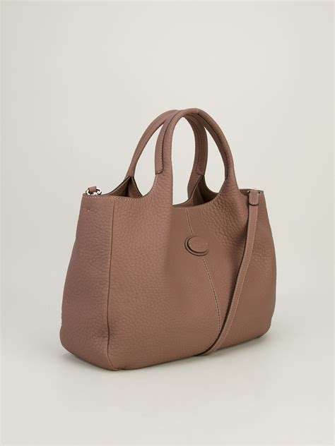 lyst tods shopping bag  brown