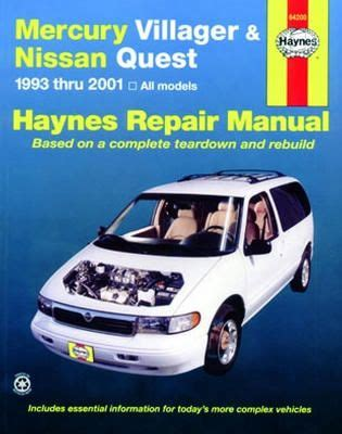 free auto repair manuals 1993 mercury villager electronic toll collection mercury villager nissan quest haynes repair manual 1993 2001 hay64200