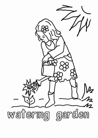 Coloring Watering Plants Growing Template Pages Sheet
