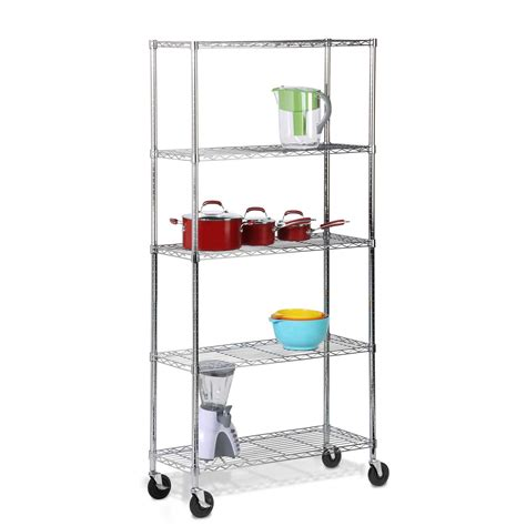 5 Tier Chrome Shelving Unit With Casters By Honey Can Do