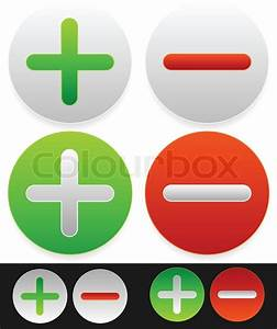 Bright icons with plus, minus signs. | Stock Vector ...