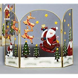 santa fireplace screen flying santa reindeer fireguard screen